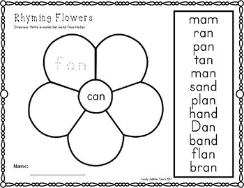 Floral theme Rhyming Cut and Paste