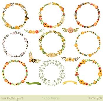 Floral wreaths clip art, Flower borders clipart, Digital fall wreaths set
