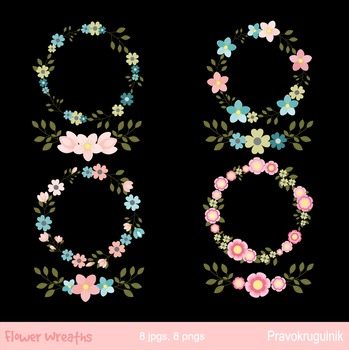 Floral wreaths clip art, Flower wreaths clipart, Digital floral borders