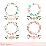 Floral wreaths clip art, Flower wreaths clipart, Digital f