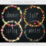 Floral wreaths clipart - flower wreath clip art summer spring fall winter