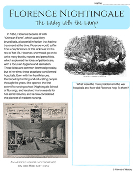 Florence Nightingale, the Lady with the Lamp {a no-prep packet for grades 4-7!}