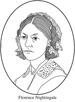 Florence Nightingale Clip Art, Coloring Page or Mini Poster