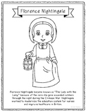 Florence Nightingale Coloring Page Craft with Biography, Nurse, Medical