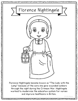 Florence Nightingale Coloring Page Activity with Biography