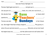 Florence Nightingale's life Lesson plan (with links to videos) and Worksheets