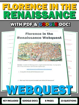 Florence in the Renaissance - Webquest with Key (Google Doc Included)
