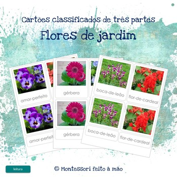 Flores de jardim - Montessori 3 part cards in Portuguese