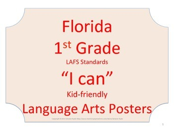 Florida 1st First Grade LAFS ELA Language Arts Standards  No Border
