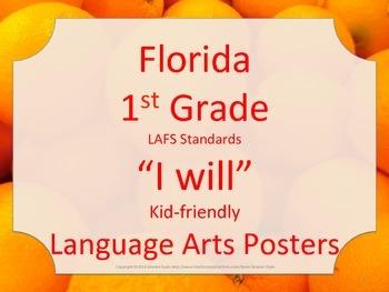 Florida 1st First Grade LAFS ELA Language Arts Standards Posters WILL