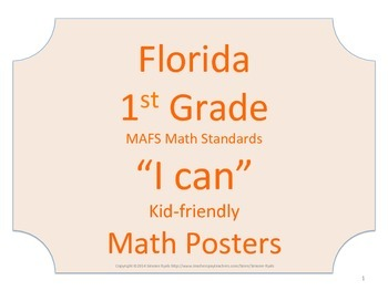 Florida 1st First Grade MAFS Math Standards Posters No Border