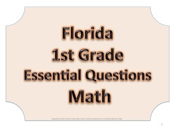 Florida 1st First Grade Math ESSENTIAL QUESTIONS No Border