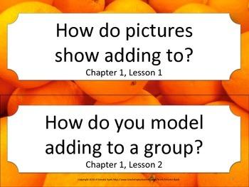 Florida 1st First Grade Math ESSENTIAL QUESTIONS Oranges