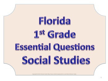 Florida 1st First Grade SS Social Studies ESSENTIAL QUESTIONS No Border