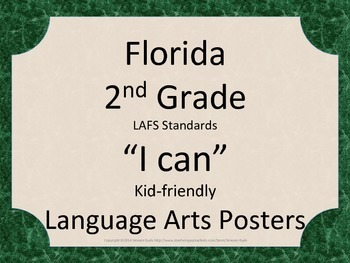 Florida 2nd Second Grade LAFS ELA Language Arts Standards Green