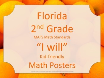 Florida 2nd Second Grade MAFS I WILL Math Standards Posters