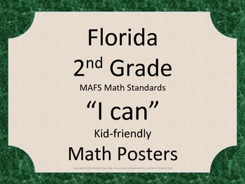 Florida 2nd Second Grade MAFS Math Standards Posters Green