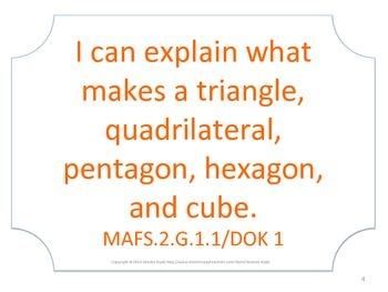 Florida 2nd Second Grade MAFS Math Standards Posters No Border