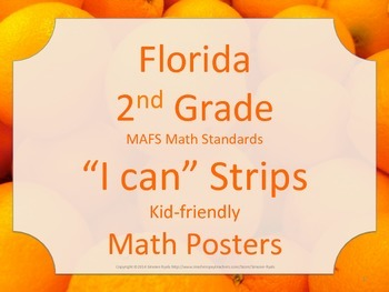 Florida 2nd Second Grade MAFS Math Standards Posters Strips