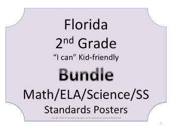 Florida 2nd Second Grade Math ELA Science AND SS  Standard