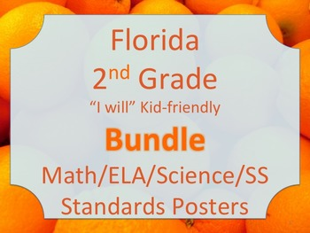 Florida 2nd Second Grade Math ELA Science AND SS  Standards I WILL Bundle