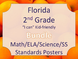 Florida 2nd Second Grade Math ELA Science AND SS  Standards Posters Bundle
