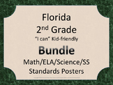 Florida 2nd Second Grade Math ELA Science AND SS  Standards Posters GREEN Bundle