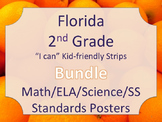 Florida 2nd Second Grade Math ELA Science AND SS  Standards STRIPS Bundle