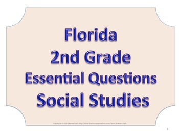 Florida 2nd Second Grade SS Social Studies ESSENTIAL QUESTIONS No Border
