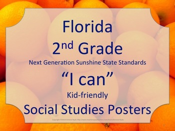 Florida 2nd Second Grade SS Social Studies NGSSS Standards Posters Oranges