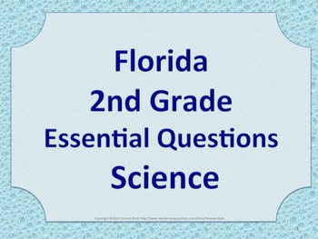 Florida 2nd Second Grade Science ESSENTIAL QUESTIONS Raindrops