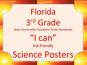Florida 3rd Grade Science Next Generation Sunshine State Standards NGSSS Posters