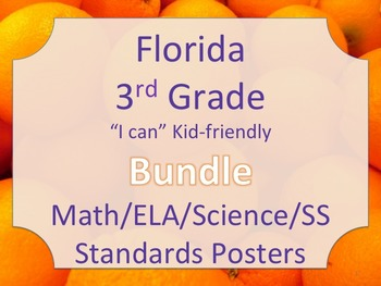 Florida 3rd Third Grade Math ELA Science AND SS  Standards Posters Bundle