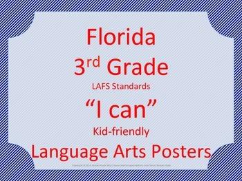 Florida 3rd Third Grade LAFS ELA Language Arts Standards Blue