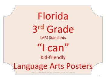 Florida 3rd Third Grade LAFS ELA Language Arts Standards No Border