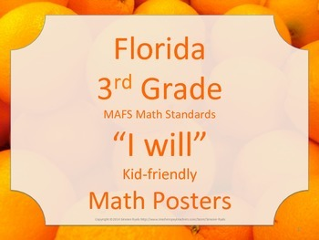 Florida 3rd Third Grade MAFS I WILL Math Standards Posters