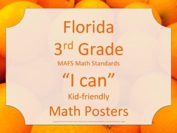 Florida 3rd Third Grade MAFS Math Standards Posters STRIPS