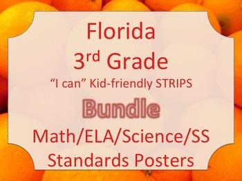 Florida 3rd Third Grade Math ELA Science AND SS  Standards STRIPS Bundle