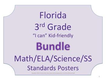 Florida 3rd Third Grade Math ELA Science & SS Standards Posters NO BORDER Bundle