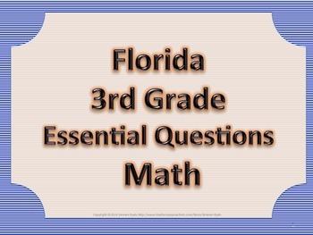 Florida 3rd Third Grade Math ESSENTIAL QUESTIONS Blue