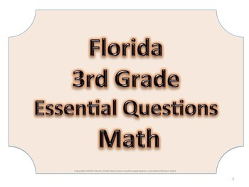 Florida 3rd Third Grade Math ESSENTIAL QUESTIONS No Border