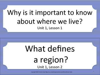 Florida 3rd Third Grade SS Social Studies ESSENTIAL QUESTIONS Blue