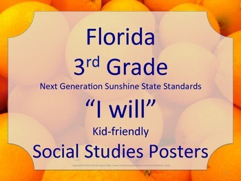 Florida 3rd Third Grade SS Social Studies I WILL NGSSS Standards Posters