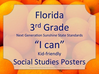 Florida 3rd Third Grade SS Social Studies NGSSS Standards Posters