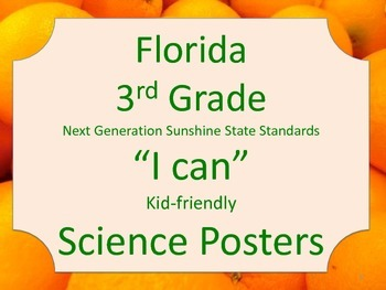 Florida 3rd Third Grade Science Standards NGSSS I Can Orange Border