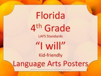 Florida 4th Fourth Grade LAFS ELA Language Arts I WILL Standards