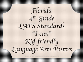 Florida 4th Fourth Grade LAFS ELA Language Arts Standards Black Callig
