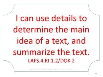 Florida 4th Fourth Grade LAFS ELA Language Arts Standards No Border