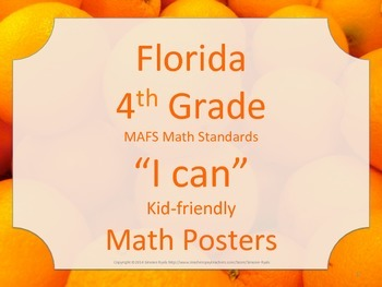 Florida 4th Fourth Grade MAFS Math Standards Posters