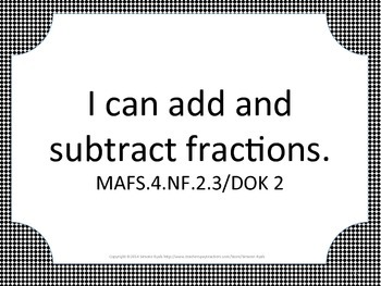 Florida 4th Fourth Grade MAFS Math Standards Posters Black Block